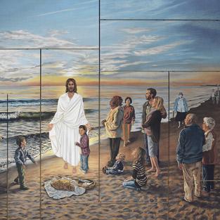 Cristo resucitado, en la playa de Puerto de Sagunto El lago Tiberiades, transformado en el mar Mediterráneo; los discípulos, ahora vecinos de Puerto; y Jesucristo, que se les aparece, todo ello en un gran mural de 70 metros cuadrados, obra durante tres años de una religiosa