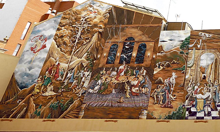 Conmuta su pena pintando la vida de Cristo Un feligrés de Meliana ilustra con estética cómic el patio del patronato parroquial de los Santos Juanes