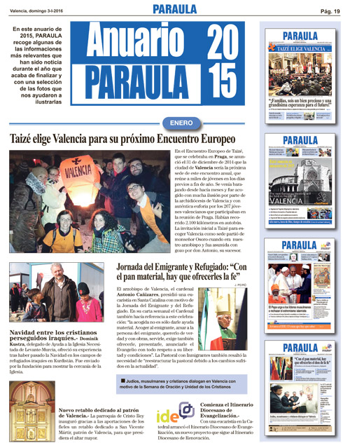 El 2015 en imágenes, esta semana con PARAULA También publica el mensaje del Papa de la Jornada Mundial de la Paz