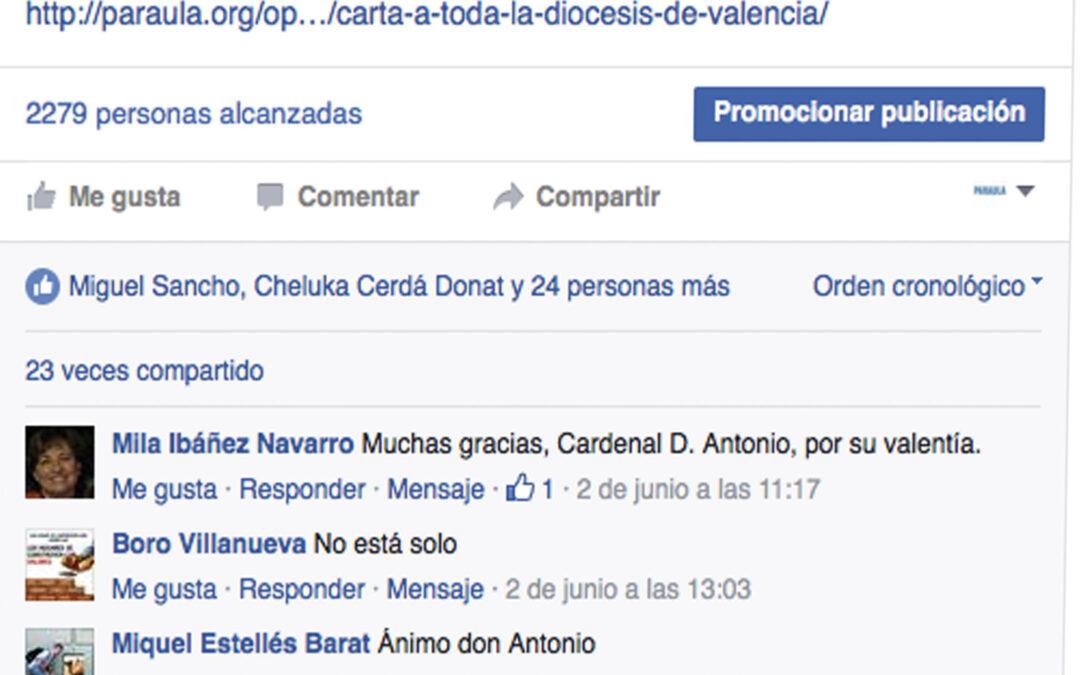Apoyo de más de 55.000 familias valencianas y en las redes sociales Reacciones a favor del cardenal arzobispo de Valencia