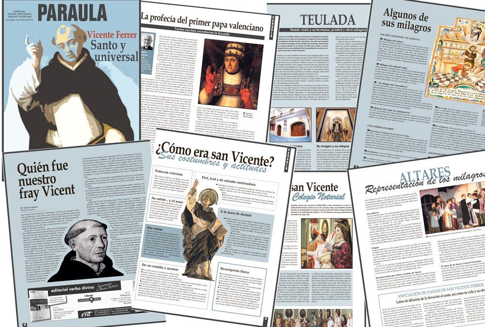 PARAULA publica un especial sobre la vida y obra de san Vicente Ferrer 36 páginas a todo color