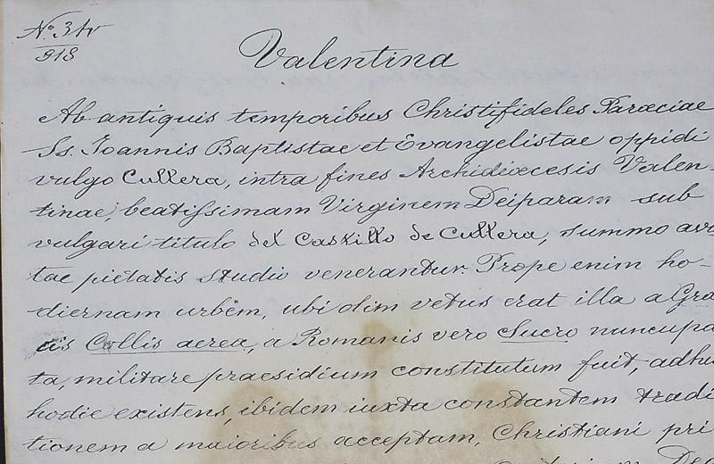 Hallan el documento del patronazgo de la Virgen de Cullera salvado por un mártir Se celebran los 100 años de la Virgen del Castillo como patrona