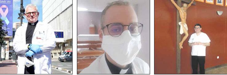 Inagotables capellanes de hospital: con enfermos, sanitarios, familias… Siguen estando presente para asistir y administrar el sacramento de la unción de enfermos a quien lo necesite
