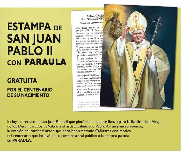 """""""Pintar a Juan Pablo II fue evocar su  visita a Valencia, que la viví siendo niño"""" Pedro Arrúe es el autor del cuadro del papa polaco de la Basílica de la Virgen y que esta semana PARAULA reproduce en una estampa que regala a sus lectores"""